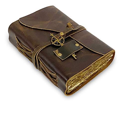 Diario de Cuero vintage 15,2 x 22,8 cm Hecho a Mano Antiguo de Borde Aspero Perfecto para Escribir un Libro de Sombras, Grimoire, Bocetos, como un Diario 15,2 x 22,8 cm