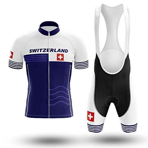 Maillot De Ciclismo Conjunto Para Hombre,Raya Blanca Azul Bandera Suiza Mtb Ropa...