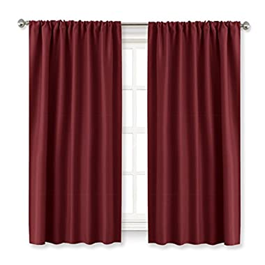 Red Drapes Blackout Curtain Panels - RYB HOME ( Width 42  by Length 45 , Burgundy Red, 2 Pcs ) Windows Treatment Back Tab / Rod Pocket Room Darkening Christmas Curtain Xmas Home Decor for Bedroom