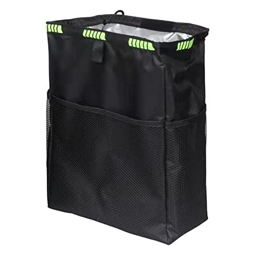 Cubo de basura para automóvil, bolsa de basura para automóvil con bolsillos de almacenamiento, forro interior impermeable y a prueba de fugas, colgantes para botes de basura para automóvil plegables y