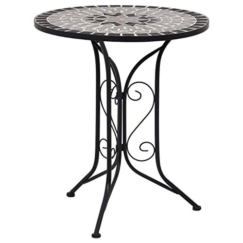 vidaXL Mosaic Bistro Table Ceramic Iron Frame Weather Resistant Balcony Pool Side Accent End Table Outdoor Food Drinking Holder 24