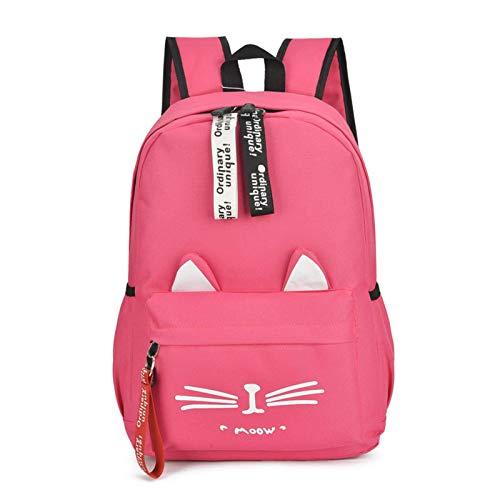 N-B Cute Cat Ladies Backpack, Bolso de Tela de Nailon Informal de Moda, daypacks de Color sólido de Gran Capacidad, Adecuado para niñas y niños, Estudio, Trabajo, Viajes