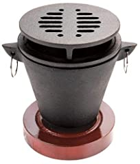 Easy to use and fun for all ages - The Chefmaster mini hibachi grill is a very easy to use tiny hibachi grill. Great indoor family fun. Use for s'mores, appetizers, pu-pu platters and kebabs. Durable cast iron design with stylish wooden base - All Ch...