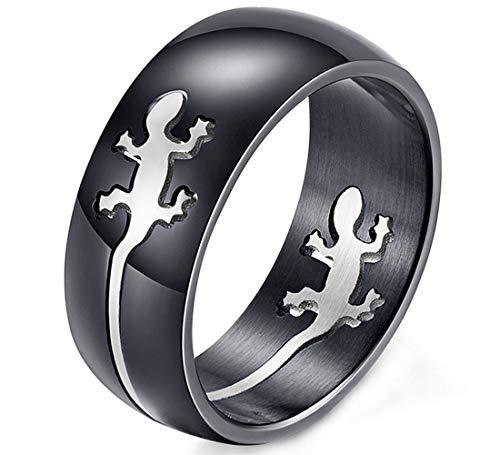 Ueice Herren Kreativ Einfach Gecko Schwarz Überzogen Ringe Im Rostfreier Stahl,Schwarzes Silber,Größe 59 (18.8)