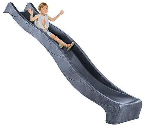 Demmelhuber Rutsche WATERSLIDE 2,90 m mit Wasseranschluss für Spielturm Wellenrutsche Gartenrutsche Kinderrutsche Anbaurutsche Wasserrutsche (Anthrazit)