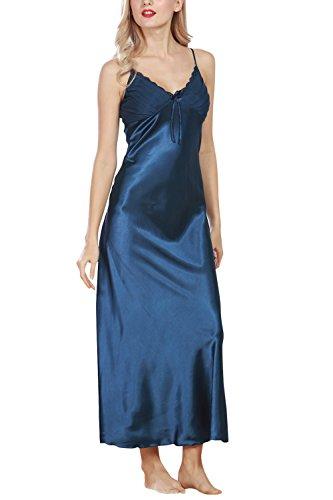 Dolamen Chemises de nuit Femmes Satin, Femmes Ensemble de Pyjama, Luxe & Lingerie Sexy Spaghetti Strap Chemise Babydoll Dentelle chemise de nuit longue (Large, Bleu)