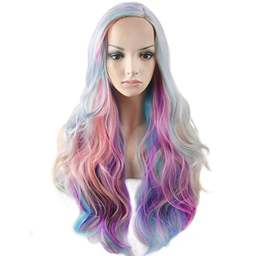BERON Rainbow Wig Long Curly Wig Multi-Color Wig Charming Full Wigs for Cosplay Girls Party or Daily Use Wig Cap Included