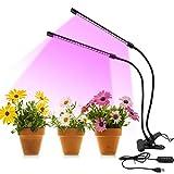LED Lampe de Plante, Lampe de Croissance à 2 Têtes, Lampe Horticole Spectre Complet avec 3 Modes 9 Luminosité & Chronométrage AUTO- ON/OFF, Parfait pour Intérieur/Jardin, 360° Réglable