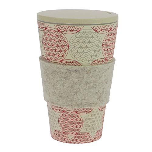 ebos Coffee-to-Go-Becher aus Bambus, incl. Schraubdeckel | wiederverwendbar, natürliche Materialien, umweltfreundlich, spülmaschinengeeignet, verschiedene Designs (BdL)