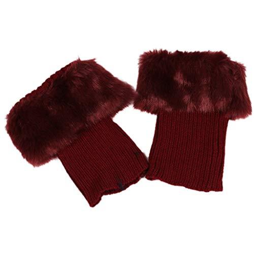AERVEAL Beenlingen, voor dames, winter, warm, gehaakt, laarsmanchetten, topper, bontzacht, pluche, korte beenwarmers