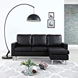 #10. Modern Bonded Leather Sectional Sofa