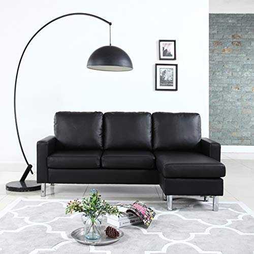 Modern Bonded Sofa Small Leather Sectional Space Configurable Black Couch