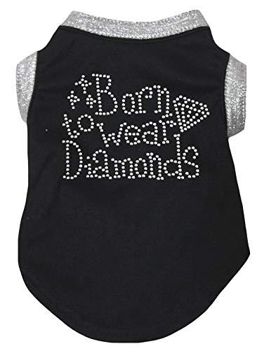 Petitebelle Puppy kleding hond jurk geboren om diamanten zilver zwart T-shirt te dragen, XXX-Large, Zwart
