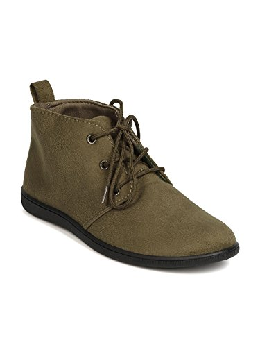 REFRESH Women Faux Suede Round Toe Lace Up Desert Bootie FH51 - Khaki (Size: 6.5)