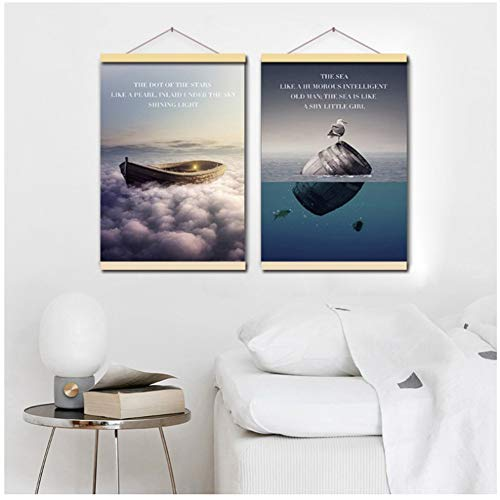 Oceaan Boot Vogel Landschap Rolling houten reel Canvas Schilderij Schip Zeegezicht Wall Art Poster Woonkamer Foto Woondecoratie-50x70cmx2P