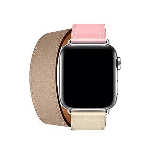 LWL House qualità Senza preoccupazioni Cinturino in Pelle Bicolore a Doppio Anello for Apple Watch Series 3 & 2 & 1 38mm, Colore: Rosa Ciliegia + Rosa Bianco + Argilla Ceramica