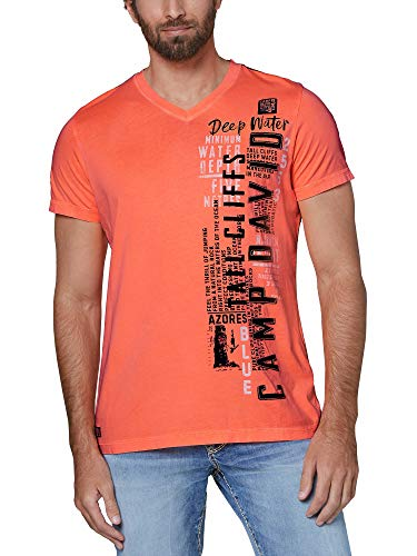 Camp David Herren T-Shirt mit V-Neck, Prints und Stickereien