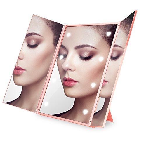 Expower LED Specchio Pieghevole Portatile da Trucco, Specchio Cosmetico Makeup Mirror 3 Piegature Visualizzazione Completa 8 LED Riempimento di Luce con Supporto Regolabile