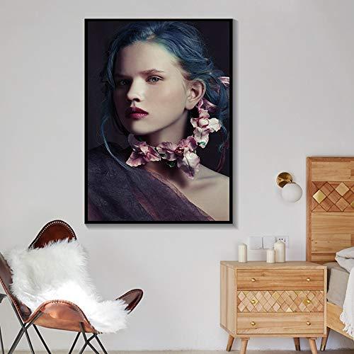 Blaues Haar Schöne Gril Sexy Mode Poster Wandkunst Leinwand Malerei Modulare Bilder Für Wohnzimmer Home Decortion Ungerahmt A59 60x90cm