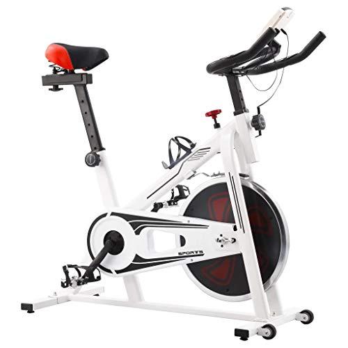 GOTOTOP Bicicleta estática con sensores de impulso, bicicleta estática silenciosa, bicicleta de fitness, bicicleta aeróbica plegable, carga máxima: 100 kg, 97 x 46 x 108 cm, blanca y roja