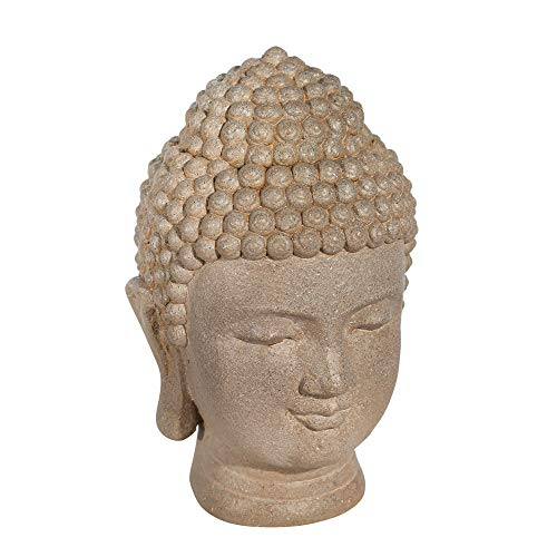 Sagebrook Home Resin 11.5'' Buddha Head, Stone, Gray (13029-12)