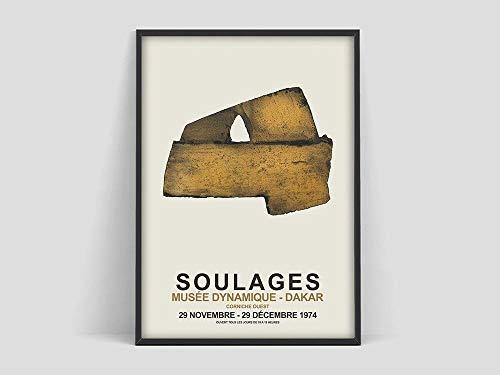 Póster de exposición de Soulages, impresión de póster de Pierre Soulages, impresiones artísticas, impresión de exposición, arte abstracto, pintura en lienzo sin marco P 60x90cm