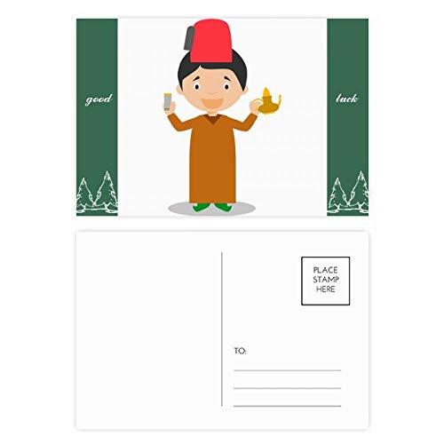 Rode Hoed Marokko Cartoon Veel Geluk Postkaart Set Kaart Mailing Zijde 20 stks