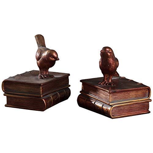 Kreative Vogel Buchstütze Desktop-Dekoration, Statuen Geschenke Für Kinder Schüler Schulbibliothek Studie Home Office Dekorative Geschenke, Braun