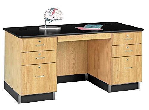 "Big Sale Diversified Woodcrafts 1131K Solid Oak Wood Teachers Work Desk, Plastic Laminate Top, 60"" Width x 30"" Height x 30"" Depth"