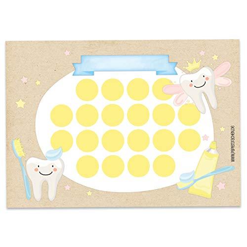Papierdrachen Belohnungstafel Set für Kinder als Abreißblock 10 Blatt - Motivierendes Konzept als Erziehungshilfe - mit tollen Stickern für Jungs und Mädchen - Motiv Zähneputzen 1 Set 10