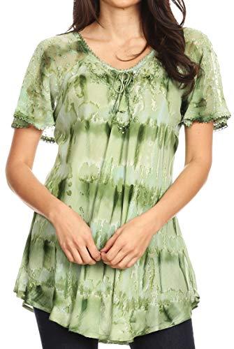 Sakkas 19206 - Allegra Damen Kurzarm Loose Fit Lässige Tie Dye Bluse Tunika Shirt - 19207-Green - OS
