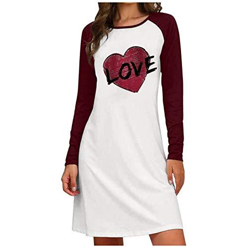 Surfiiiy - Vestido para mujer, estilo informal, color liso, cuello redondo, manga larga, con estampado de corazón de gato y letra Du Vin 1 XXXL