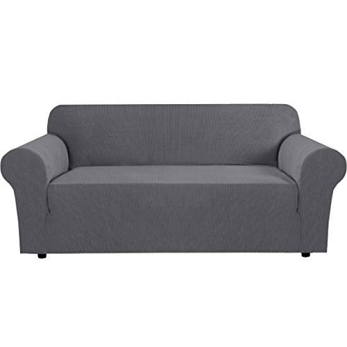 H.VERSAILTEX Stretch Sofa Cover Couch Covers Sofa Covers for 3 Cushion Couch Sofa Protector Cover for Living Room, Small Checks Jacquard Soft Thick, Removable and Washable(Sofa 74'-88': Grey)