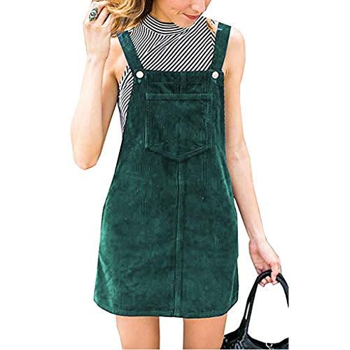 Women Suspender Corduroy Straight Bib Overall Pinafore Casual Pocket Mini Dress MITIY,S-2XL Green