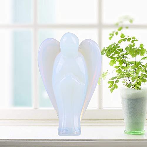 Parluna Cristal curativo, ángel de Bolsillo, ópalo Natural, Piedra curativa de 1,5 Pulgadas, Forma de ángel, Regalo, Figura de ángel, Estatua para meditación, Yoga