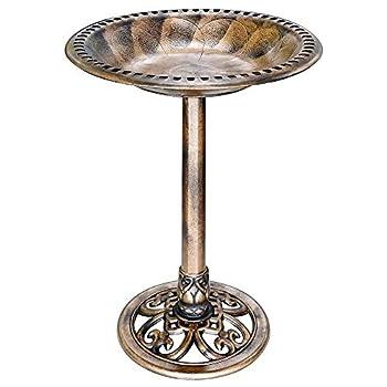 VIVOHOME 28 Inch Height Polyresin Lightweight Antique Outdoor Garden Bird Bath Copper