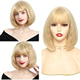 Short Blonde Bob Wig with Bangs 2 in 1 Curly Wave Wigs + Straight Wigs Blonde Synthetic Cosplay Wigs for Women and Girls Colorful Costume (12'', Blonde)