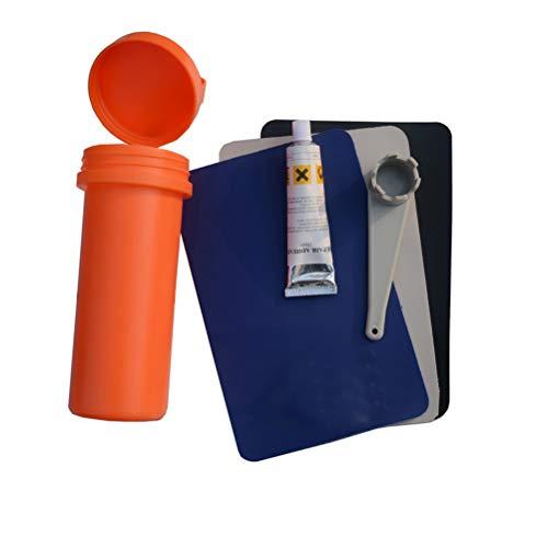 Dowoa Kit de reparación de Botes inflables Kit Adhesivo de reparación Parche Adhesivo Parche de reparación de Botes inflables (Pegamento Especial + Parche de 3 Piezas + Llave Especial + Recipiente)