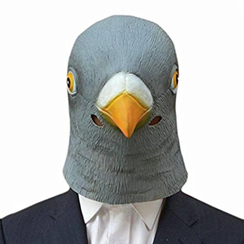 AmsofunCreepy Tauben-Kopfmaske Latex Prop Tier Cosplay Kostüm Party Halloween