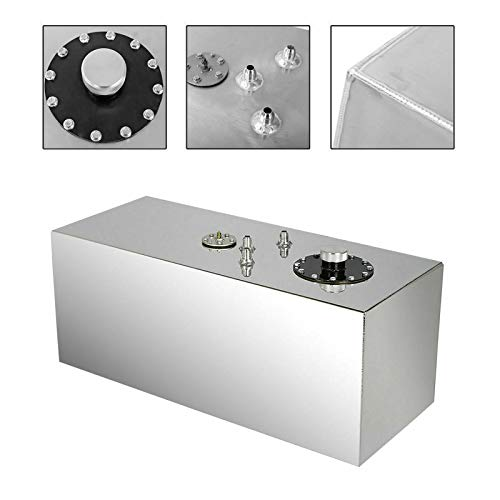 SUPERFASTRACING 19 Gallon Aluminum Top Feed Fuel Cell Gas Tank+Cap+Level Sender 72L Silver