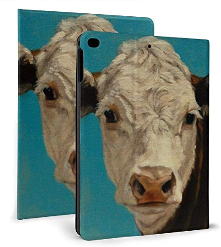 Animal Painting White Face Calf On Blue Hereford PU Leather Smart Case Auto Sleep/Wake Feature for IPad Air 1/2 9.7' Case-Animal Painting White Face Calf On Blue Hereford-iPad air1/2 9.7'