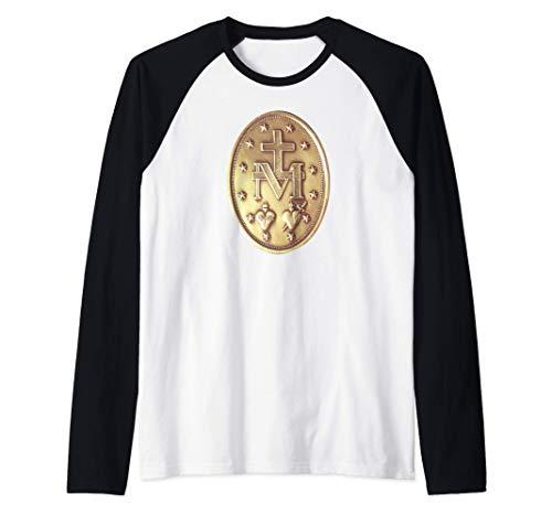 Medalla Milagrosa Medallón Católico Camiseta Manga Raglan