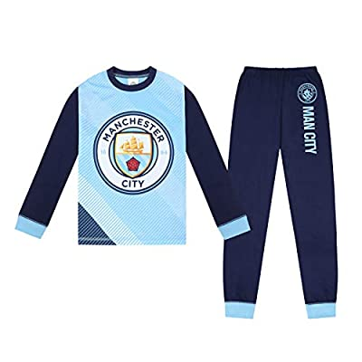 Manchester City FC Official Gift Boys Sublimation Long Pajamas 9-10 Years Blue