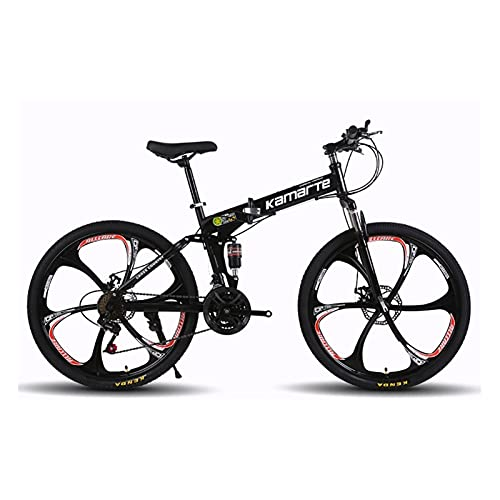 QIU Bicicleta de montaña Adulta, Ruedas de 20/24/26 Pulgadas, Marco de aleación de 17 Pulgadas para Hombre/para Mujer, 7 velocidades, Frenos de Disco, Colores múltiples (Color : Black)