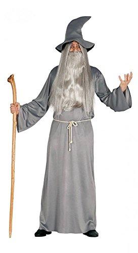 shoperama Gandalf Herren-Kostüm graues Gewand Hut Gürtel Zauberer Hexer Magier, Größe:L