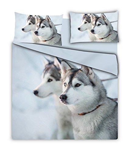 Parure de lit double avec impression photographique numérique: housse de couette + 2taies d'oreiller avec boutons Husky