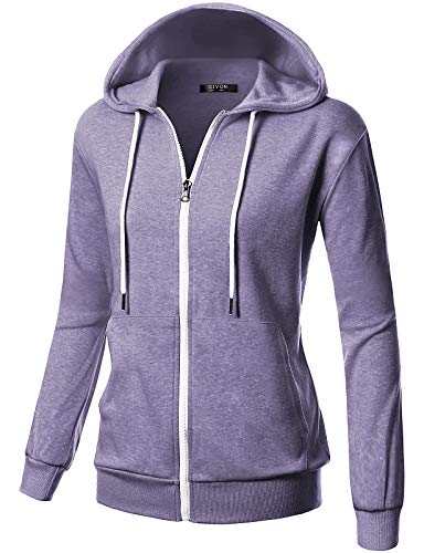 GIVON Womens Comfortable Long Sleeve Lightweight Zip-up Hoodie with Kanga Pocket/DCF200-LAVENDER-L