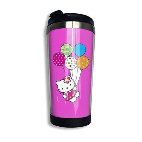 CCYK Taza térmica de Acero Inoxidable con diseño de Hello Kitty con Globo de Color, para Trabajar y Viajar, Acero Inoxidable 304 + ABS de Grado alimenticio, Negro, Talla única
