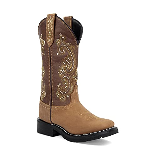 Masterson Women's Square Toe Western Cowgirl Work Boot (Brown, 8)