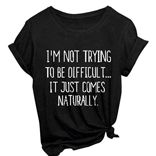T Shirts for Women,Thou Shall Not Try Me Shirt Funny Letter Tees Tops Short Sleeve Casual Basic Tunic Blouse D- Black